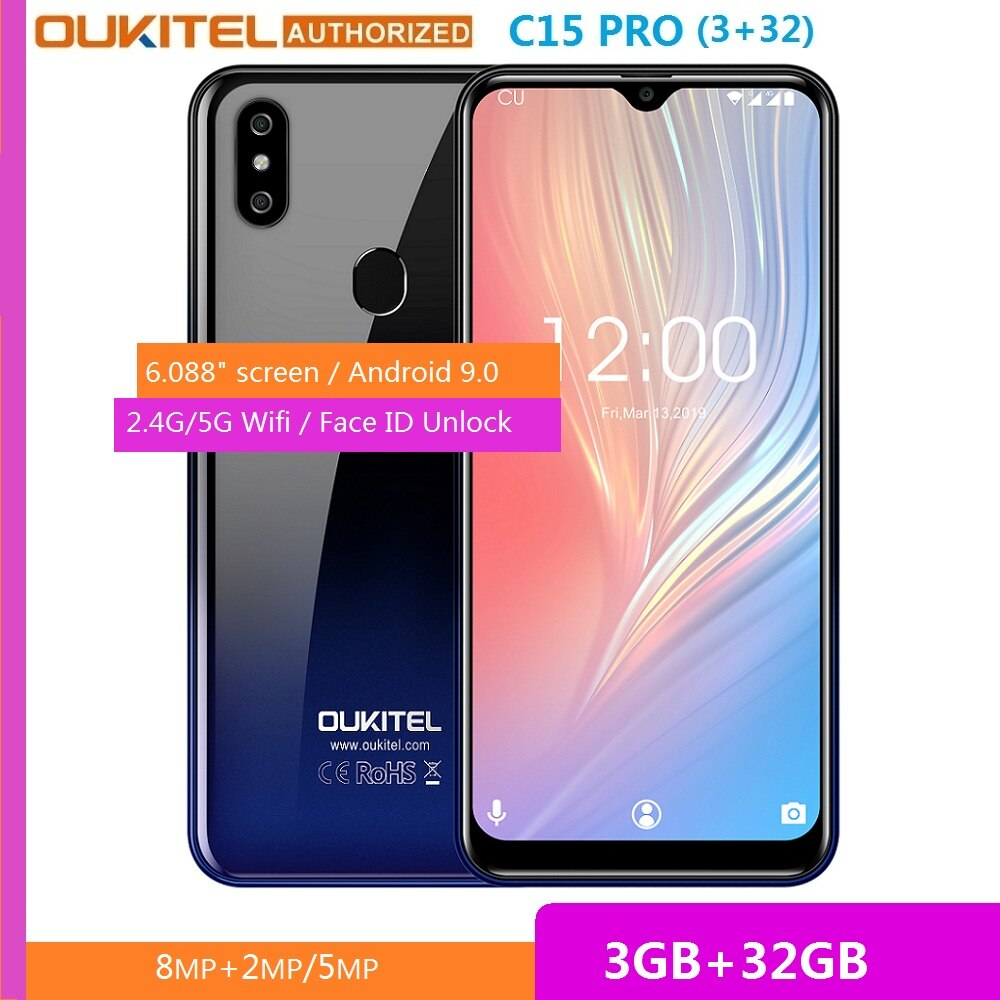 OUKITEL C15 Pro 3GB RAM 32GB ROM 6.088 inch Waterdrop Big Screen Android 9.0 Pie MT6761 Smartphone 5G WiFi Mobile Cell Phone