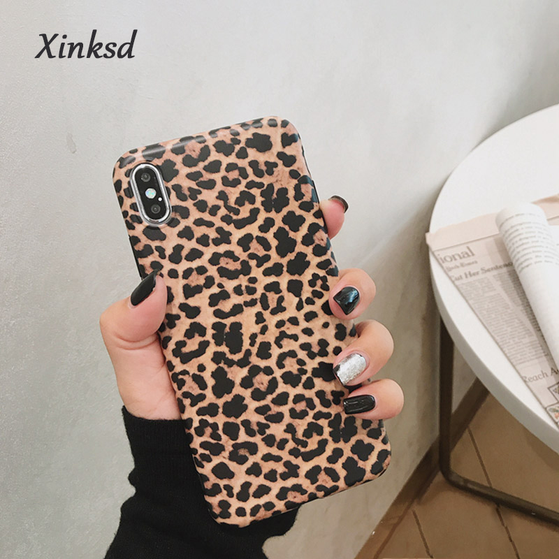Fashion Leopard print Phone Case For iphone 11 XS Max XR X Case For iphone 8 7 6S 6 plus Back Cover Luxury Soft Cases Matte Capa