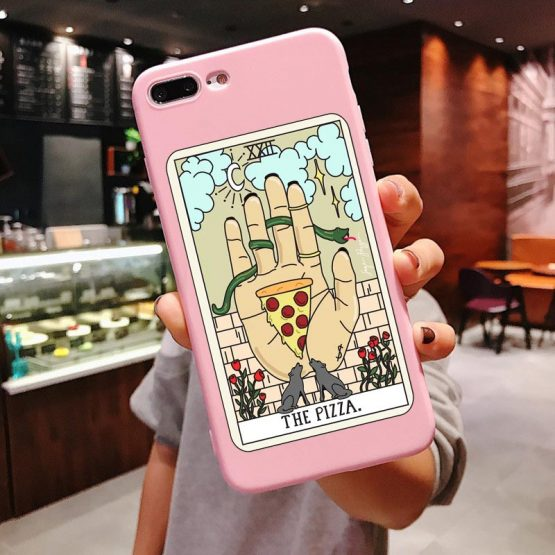 Art pizza coffee Pink silicone Phone Case For iPhone X 6 6s Plus 7 Aesthetic Art pizza coffee Pink silicone Phone Case For iPhone X 6 6s Plus 7 8 Plus XS MAX XR 11 Pro Max SE 5 5s TPU Cover.