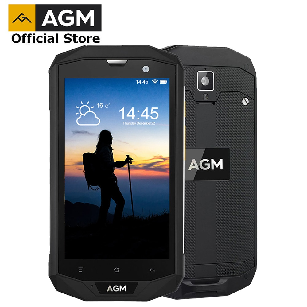 """OFFICIAL AGM A8 5""""4G+64G FDD-LTE Android 7.1 Mobile Phone 2SIM IP68 Rugged Phone Quad Core 13.0MP 4050mAh NEW NFC OTG Smartphone"""