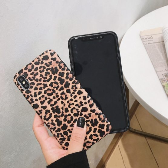 Fashion Leopard print Phone Case For iphone 11 XS Max XR X Case Fashion Leopard print Phone Case For iphone 11 XS Max XR X Case For iphone 8 7 6S 6 plus Back Cover Luxury Soft Cases Matte Capa.