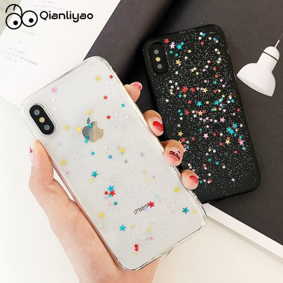 Qianliyao For iphone 11 Pro Max XS Max XR Case Bling Colorful Star Silicon Clear Cover Glitter Case for iphone 6 6s 7 8 plus X cases