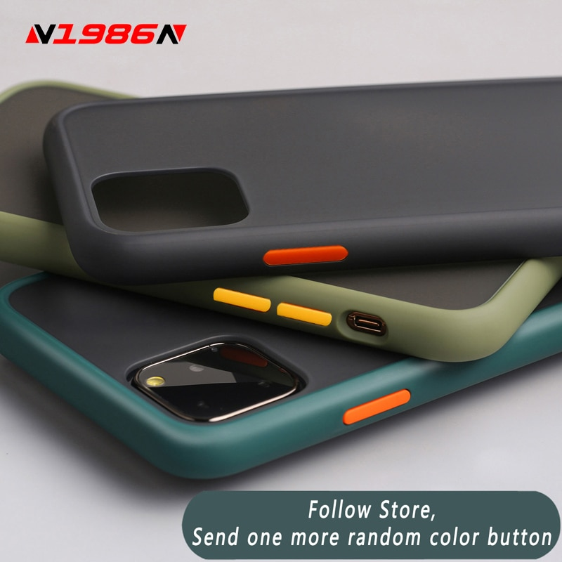 N1986N Phone Case For iPhone 11 Pro X XR XS Max 7 8 Plus Luxury Contrast Color Frame Matte Hard PC Protective For iPhone 11 Case