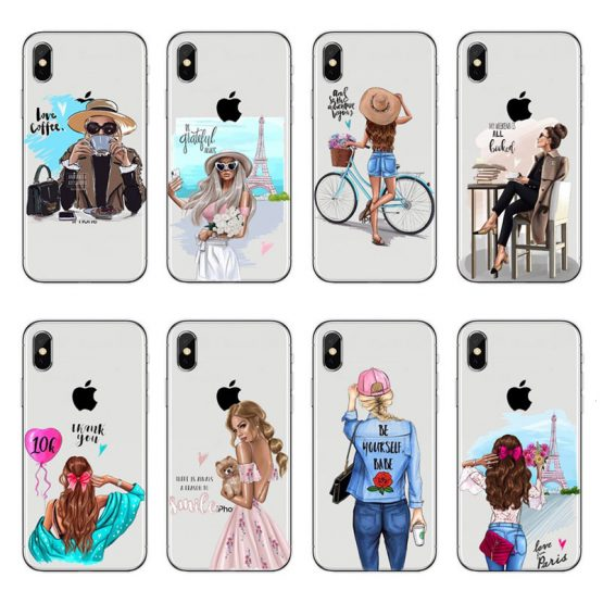Fashion Black Brown Hair female white-collar soft TPU Case For iPhone X 8 7 6 6s Plus 5 5s SE Silicone Transparent Woman Cover
