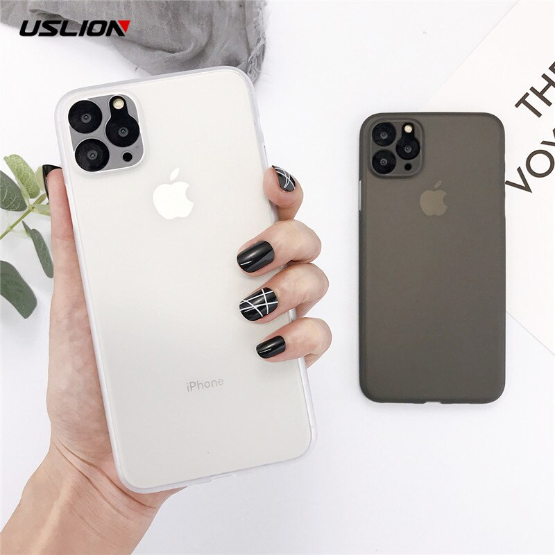 USLION Shockproof Matte Phone Cover For iPhone 11 Pro Max Plain Candy Color Phone Case Ultrathin Hard PC Back Case For iPhone 11