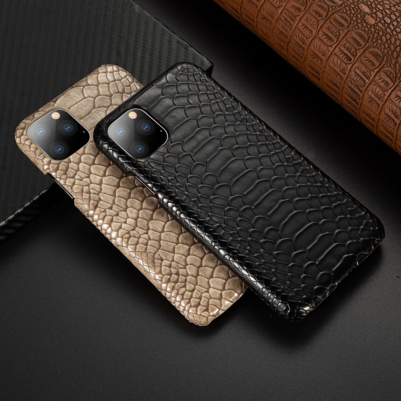Snake Skin PU Leather Cover for iPhone 11 pro 6 6s Plus 7 7Plus 8 8Plus X XR XS Max Phone Case Crocodile Texture Coque Fundas
