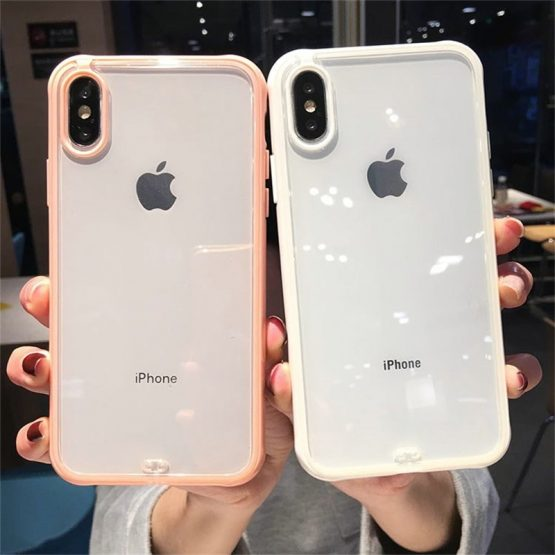 Transparent Shockproof Bumper Silicone Phone Case For iPhone Transparent Shockproof Bumper Silicone Phone Case For iPhone 11 Pro X XS XR XS Max 6 7 8 Plus Clear Soft TPU Back Cover.