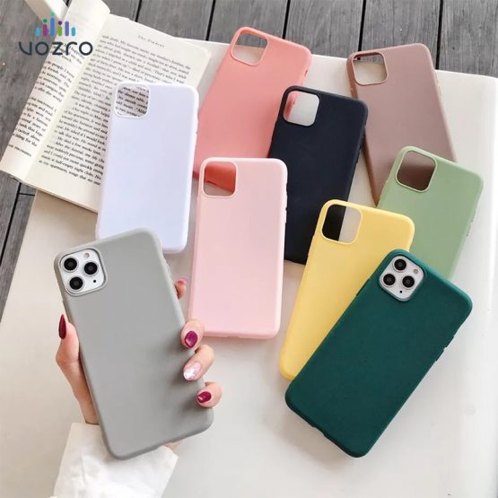 Candy Phone Case For IPhone 6 6s 7 8 Plus X XR XS 11 Pro Max Lovely Simple Solid Color Soft Silicone For 2019 New iPhone 11 Case