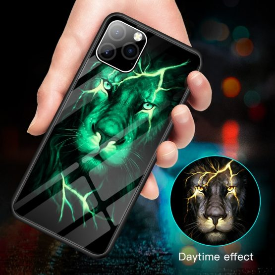 Lion Phoenix Wolf Tiger Luminous Glass Case For iPhone 11 Pro Max XSmax XR XS X 8 7 6s 6 Plus Luxury Phone Cover Funda Coque