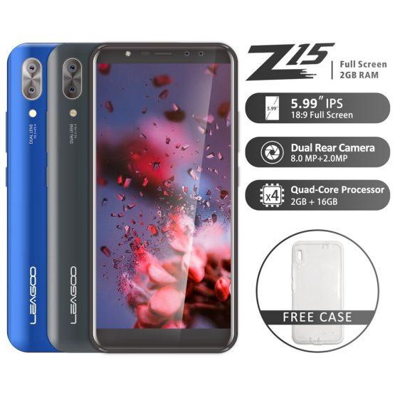 "LEAGOO Z15 Mobile Phone 5.99"" 18:9 Full Screen 2GB RAM 16GB ROM Dual Rear Camera 3000mAh Android MT6580M Quad Core 3G Smartphone"