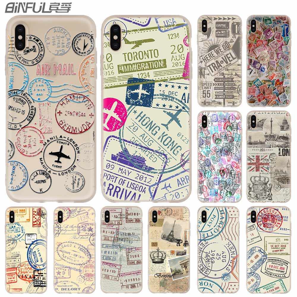 Phone Cases Silicone soft Cover for iPhone 11 Pro X XS Max XR 6 6S 7 8 Plus 5 4S SE Retro Post Card passport stamps Case