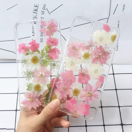 Real Dried Pressed Flowers Phone Cases For iPhone 11 Pro Max X XS Max XR 6 6S 7 8 Plus Silicone Handmade Floral Case Cover Coque