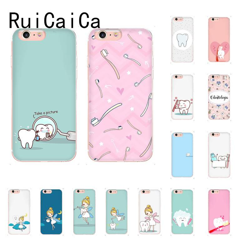 RuiCaiCa Funny Cartoon Dentist Dental Crowned Teeth Soft Phone Case for iPhone8 7 6 6S Plus X XSMAX 5 5S SE XR 11 11pro 11promax