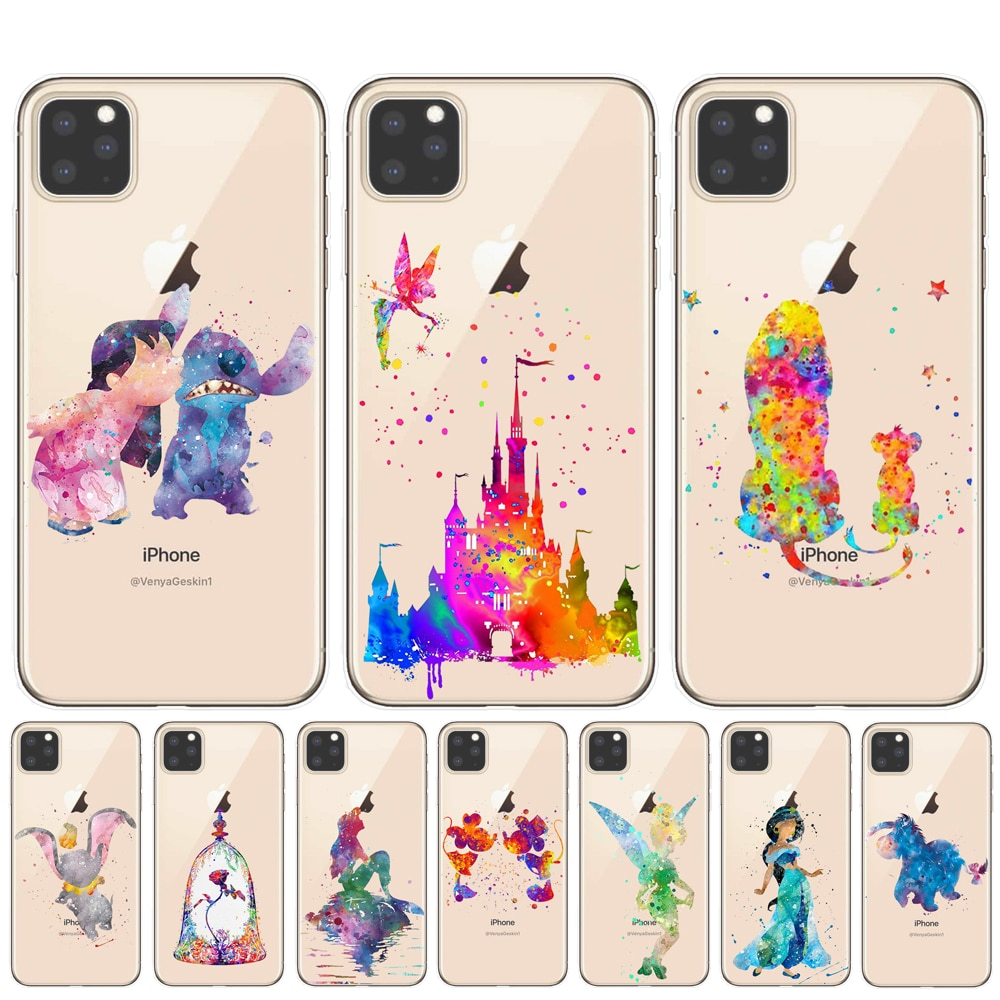 Cartoon Minnie Princess Stitch Mermaid Case For iPhone 11 Pro XS MAX XR Cover For iPhone 8 7 6 6S Plus 5S SE Coque Cover Shell