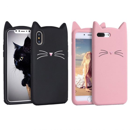 New Cute Smile Glitter Bearded Cat Case For iphone SE 5 5S 5C 6 6S 7 8 Plus X XR XS 10 Max Squishy Cat Cover Mobile Phone Bags