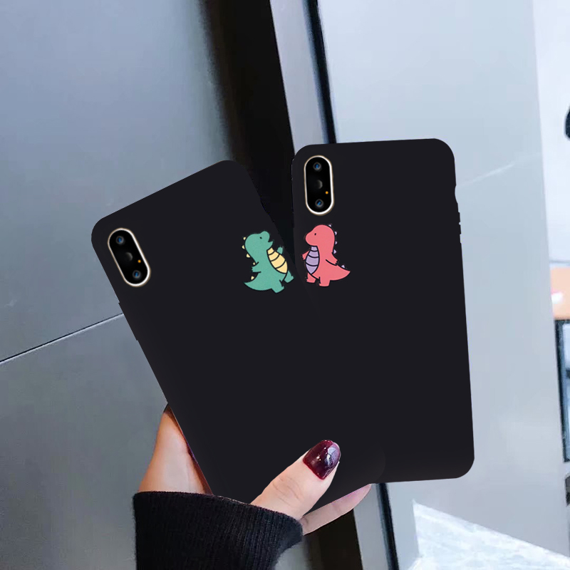 GYKZ Cartoon Dinosaur Phone Case For iPhone 7 11 Pro X XS MAX XR 8 6 6s Plus Cute Couple Black Soft Silicone Back Cover Capa Bag