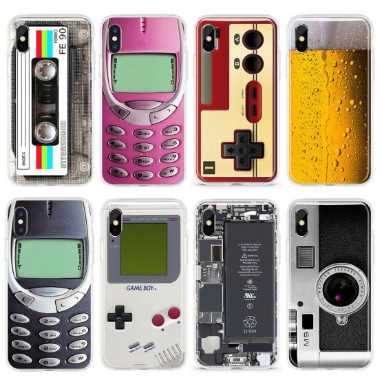 Funny Soft TPU Phone Case For iPhone X XS Max XR 11 Pro 7 8 Plus 6 6S 5 5S SE Beer Drinks Gameboy Broken Screen Silicone Cover