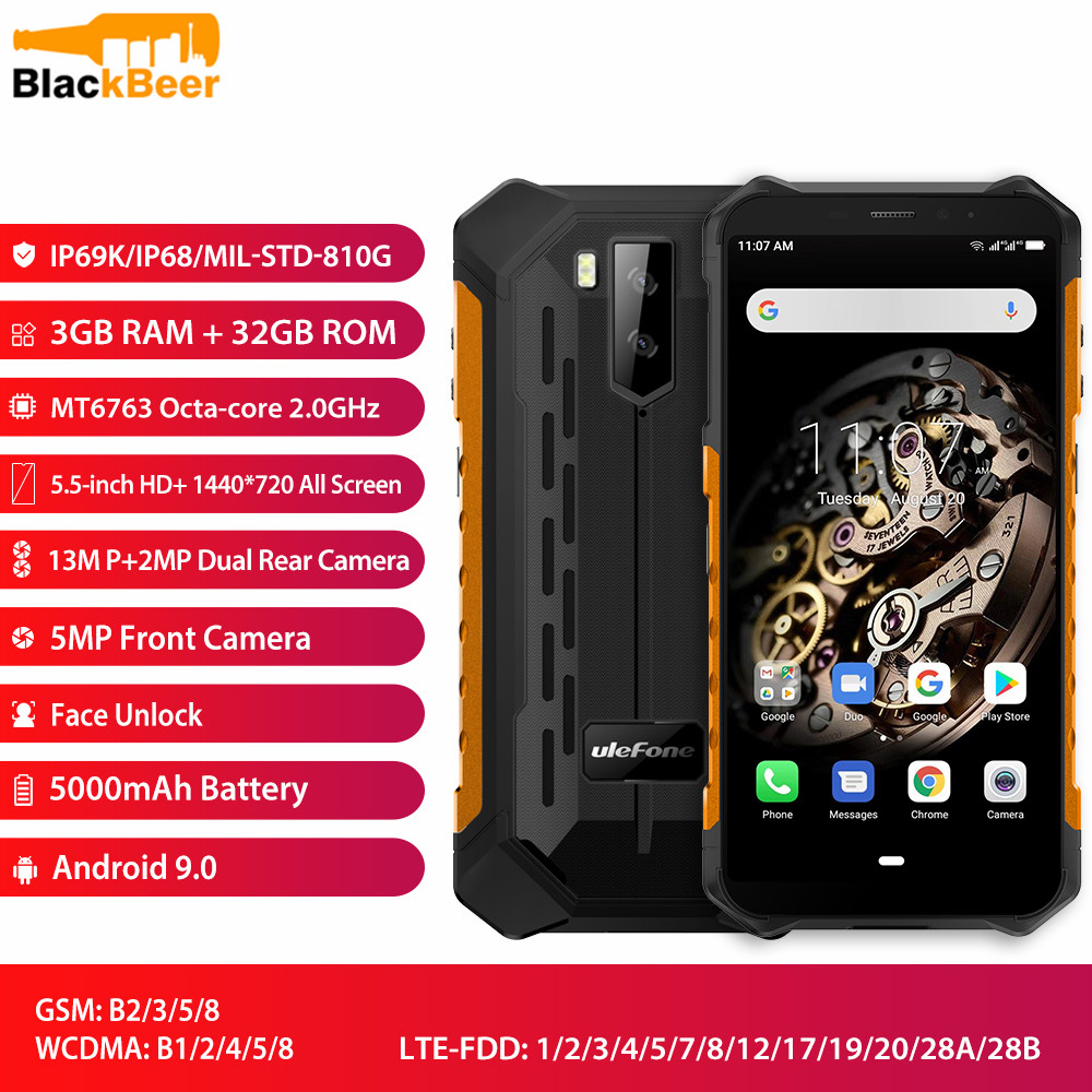"Ulefone Armor X5 5.5"" Mobile Phone 4G LTE Rugged Waterproof Smartphone Android 9.0 CellPhone 3GB 32GB MT6763 Octa Core IP68 NFC"
