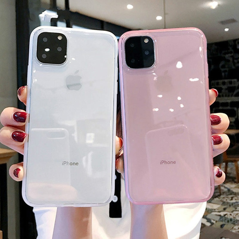 luxury Transparent Shockproof Frame Phone Case For iPhone 7 8 6 6s Plus 11 Pro X XR XS Max Soft TPU Silicone Solid Back Cover