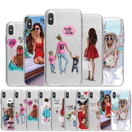 Cute Baby Child Mother TPU Phone Case For iPhone X XS Max XR 11 Pro 7 8 6 6S Plus 5 5S SE Fashion Queen Girl Silicon Clear Cover