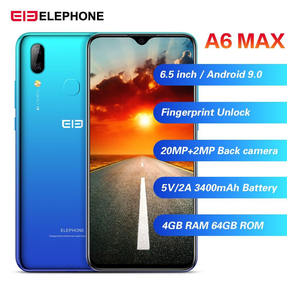 Elephone A6 Max 4G Smartphone Android 9.0 4GB RAM 64GB ROM MT6762V Quad Core 20MP Fingerprint 5V/2A 3400mAh OTG NFC Mobile Phone