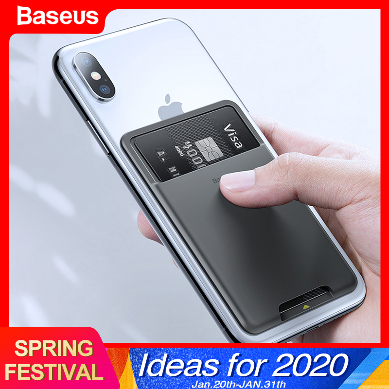 Baseus Universal Phone Back Slot Card Wallet Case For iPhone 11 Pro Max X Xs Luxury Silicone Phone Pouch Case For Samsung Xiaomi