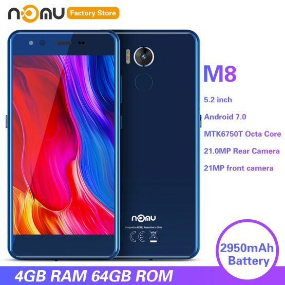 IP68 NOMU M8 4G Smartphone 5.2 inch Android 7.0 MTK6750T Octa Core 1.5GHz 4GB RAM 64GB ROM 21.0MP Rear Camera 2950mAh Cellphones