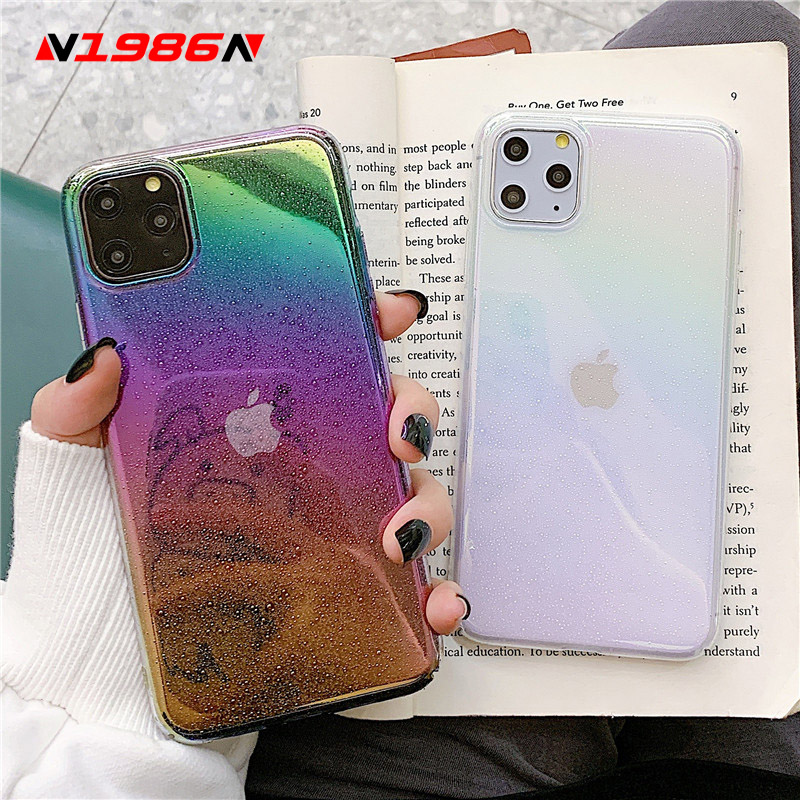 N1986N Rainbow Laser Case For iPhone 11 11 Pro Max X XR XS Max 6 6s 7 8 Plus Luxury Colorful Water Drop Hard PC For iPhone X 11