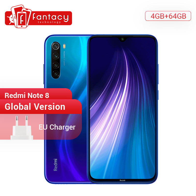"Gloabl Version Xiaomi Redmi Note 8 4GB 64GB 48MP Quad Camera Smartphone Snapdragon 665 Octa Core 6.3"" FHD Screen 4K Video Phone"