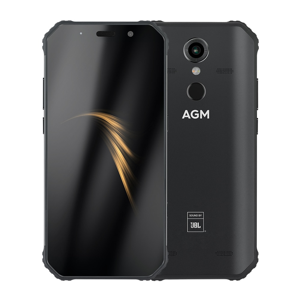 "AGM A9 Android 8.1 Rugged Phone Co-Branding 5.99"" FHD 4G 64G 5400mAh IP68 Smartphone Fingerprint Type-C NFC Quad-Box Speakers"