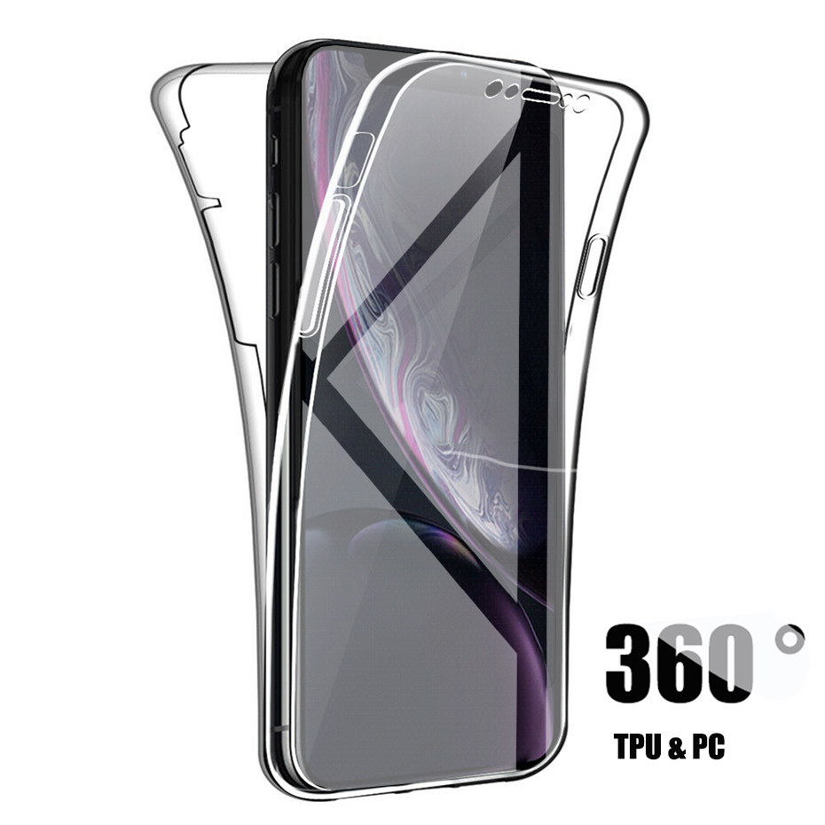 360 Full Cover Soft Silicone Shockproof Phone Case For iPhone 11 Pro XS Max X XR Clear TPU PC Case For iPhone 7 6 6s 8 Plus Case