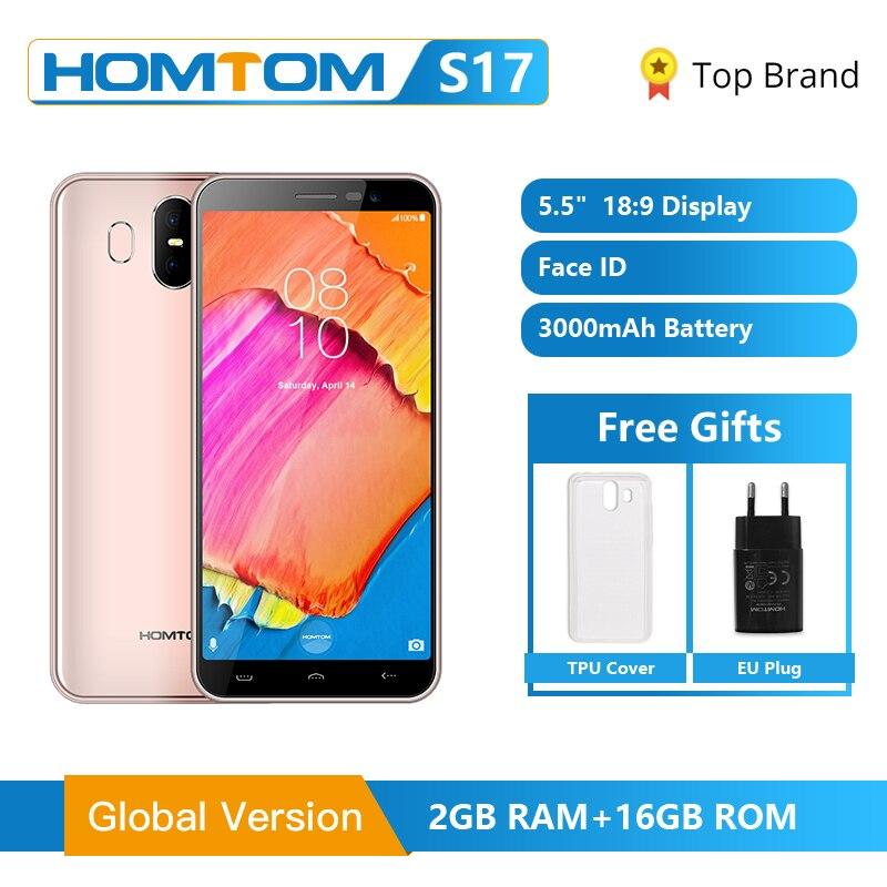 Global Version HOMTOM S17 Android 8.1 Smartphone Quad Core 5.5inch Fingerprint Face Unlock 2G RAM 16G ROM 13MP+8MP Mobile Phone
