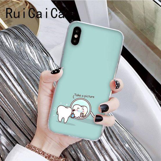RuiCaiCa Funny Cartoon Dentist Dental Crowned Teeth Soft Phone Case RuiCaiCa Funny Cartoon Dentist Dental Crowned Teeth Soft Phone Case for iPhone8 7 6 6S Plus X XSMAX 5 5S SE XR 11 11pro 11promax.