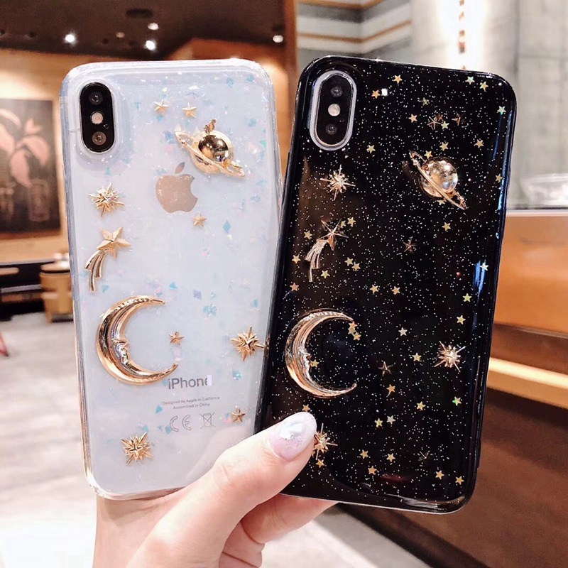 Luxury Pretty Bling Glitter Phone Case For iPhone 11 Pro X XR XS Max Plating Stars Moon Soft TPU Case For iPhone 6 6S 7 8 Plus