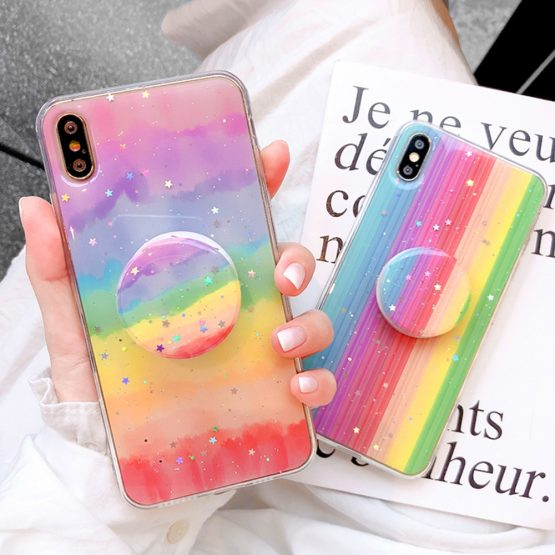 Glitter Rainbow Phone Case For iPhone XR XS Max X 11 11Pro 6 6S 7 8 Plus Glitter Rainbow Phone Case For iPhone XR XS Max X 11 11Pro 6 6S 7 8 Plus Candy Color Stand Holder TPU Full Body Protective Cover.