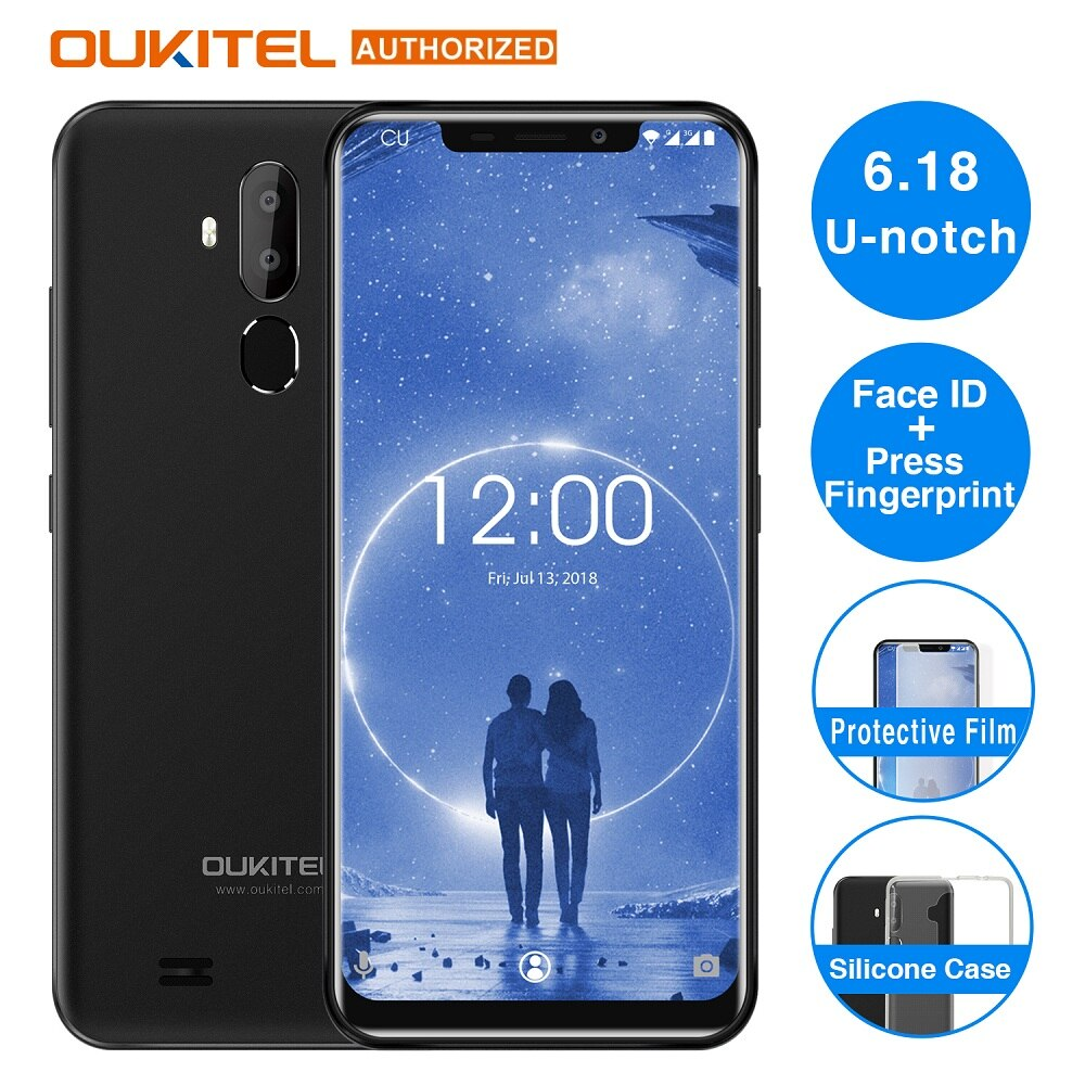 "OUKITEL C12 Face ID 3G Smartphone 6.18"" 19:9 Android 8.1 MT6580 Quad Core 1.3GHz 2GB+16GB 8MP+2.0MP Press Fingerprint Mobile"