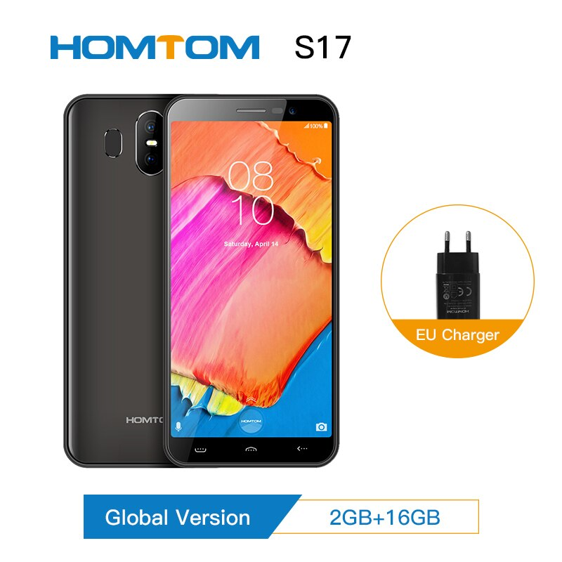 """HOMTOM S17 Android 8.1 Quad Core 5.5"""" 18:9 Full Display Smartphone Fingerprint Face ID 2GB RAM 16GB ROM 13MP+8MP Mobile Phone"""