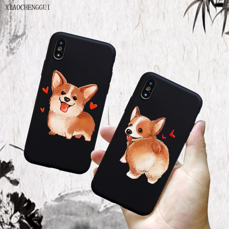 for iPhone 11 pro case Cute Corgi Sexy Cartoon Dog Ass for iphone 5 6 S 7 8 Plus XS XR Max Black soft silicone TPU Mobile Cases