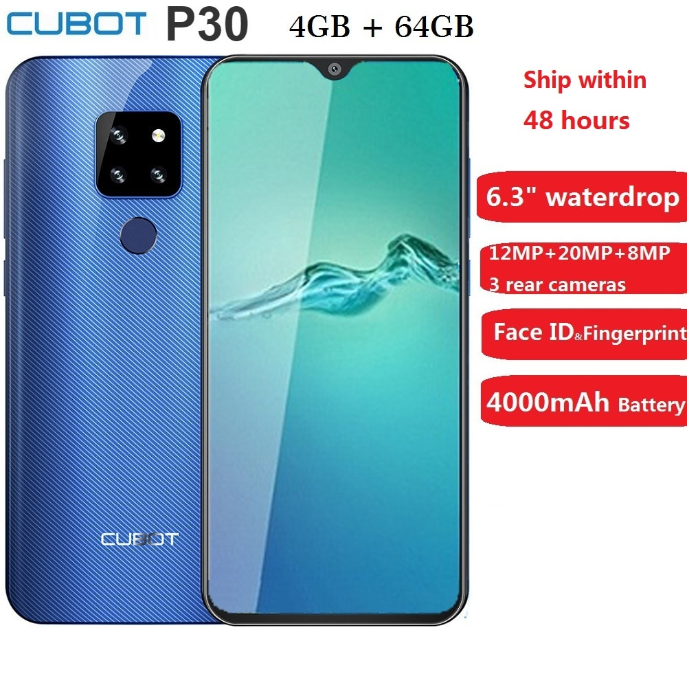 """Cubot P30 Smartphone 6.3"""" 2340x1080p 4GB+64GB Android 9.0 Pie Helio P23 AI Cameras Face ID 4000mAh Cell Phone for Dropshipping"""