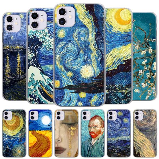 paintings Starry Night Van Gogh Phone Cases for Apple iPhone 11 Pro Max X XR XS MAX Case for iPhone 6 6s 7 8 Plus 5 5S SE Cover