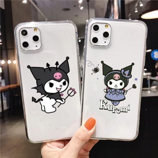 Kuromi Cute transparent Soft Silicone TPU Phone Cover for iPhone 5 SE 6s 7 8 Plus X XR XS Max 11 11Pro 11Pro Max