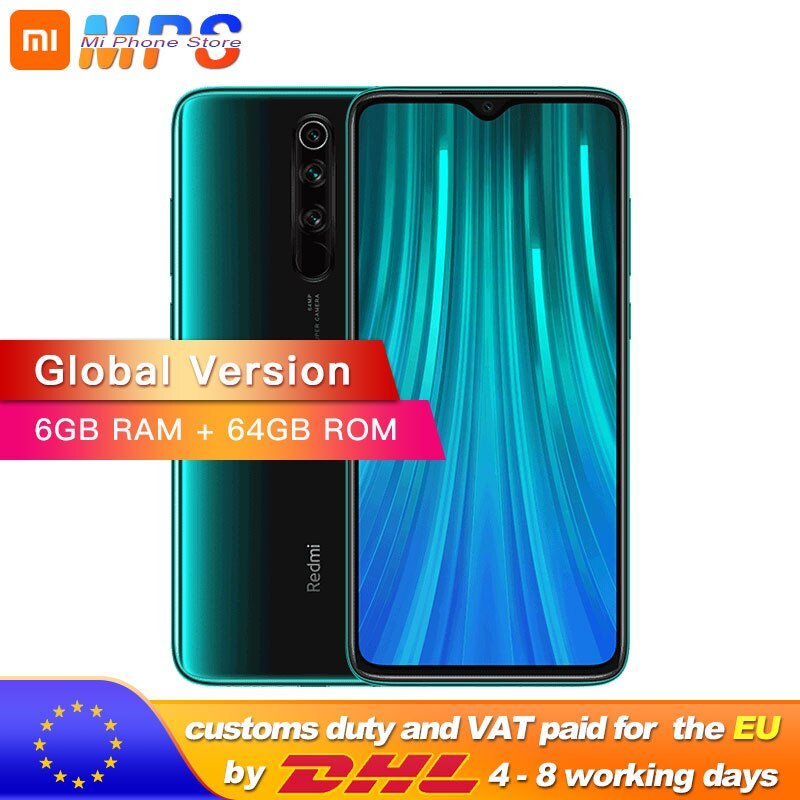 In Stock! Global Version Xiaomi Redmi Note 8 Pro 6GB 64GB Smartphone 64MP Quad Camera Helio G90T Octa Core 4500mAh NFC