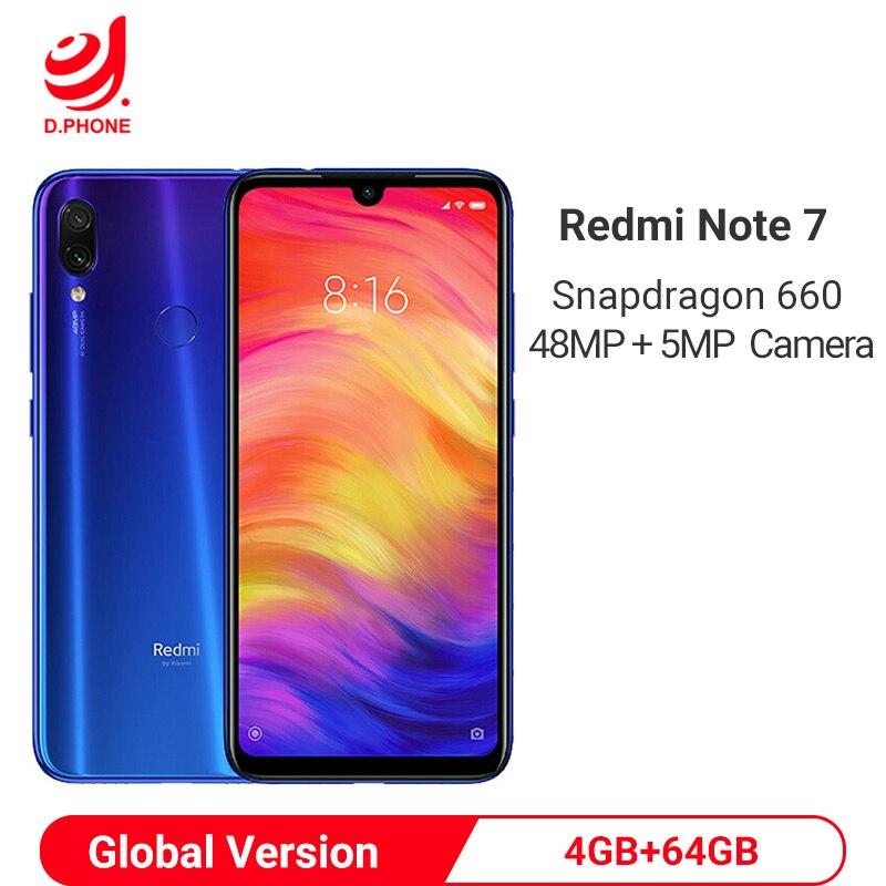 "Global Version Xiaomi Redmi Note 7 4GB 64GB Smartphone Snapdragon 660 Octa Core4000mAh 6.3"" 48MP Dual Camera Mobile Phone"