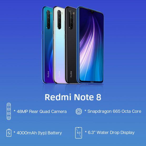 "Xiaomi Redmi Note 8 4GB 64GB 48MP Quad Camera Smartphone In Stock Global ROM Xiaomi Redmi Note 8 4GB 64GB 48MP Quad Camera Smartphone Snapdragon 665 Octa Core 6.3"" FHD Display QC 3.0."