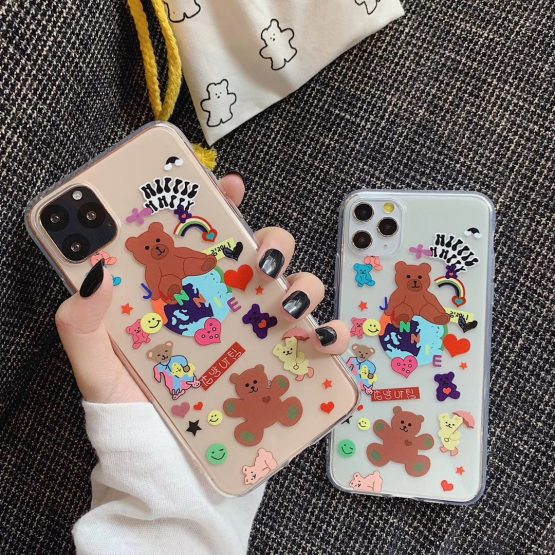INS Korea cute smiley rainbow happy party bear phone case for iPhone 11 pro MAX Xs MAX Xr X 6 6s 7 8 plus soft TPU back cover