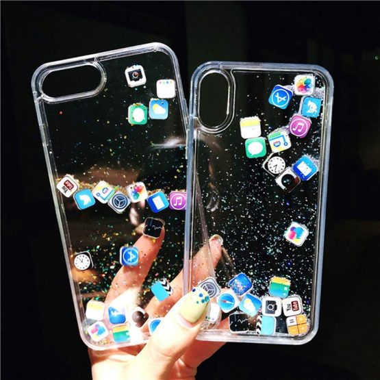 Funny Apps Icon Glitter Stars Phone Case for iPhone 11 Pro X XS Max XR Dynamic Liquid Quicksand Cover For iPhone 5SE 8 7 6s Plus