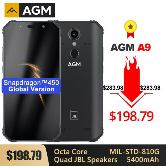"""AGM A9 Rugged Smartphone SDM450 5.99"""" FHD+ 5400mAh Quick Charge 3.0 4G 64G 32G IP68 Waterproof Android 8.1 Quad-Box Speakers NFC"""