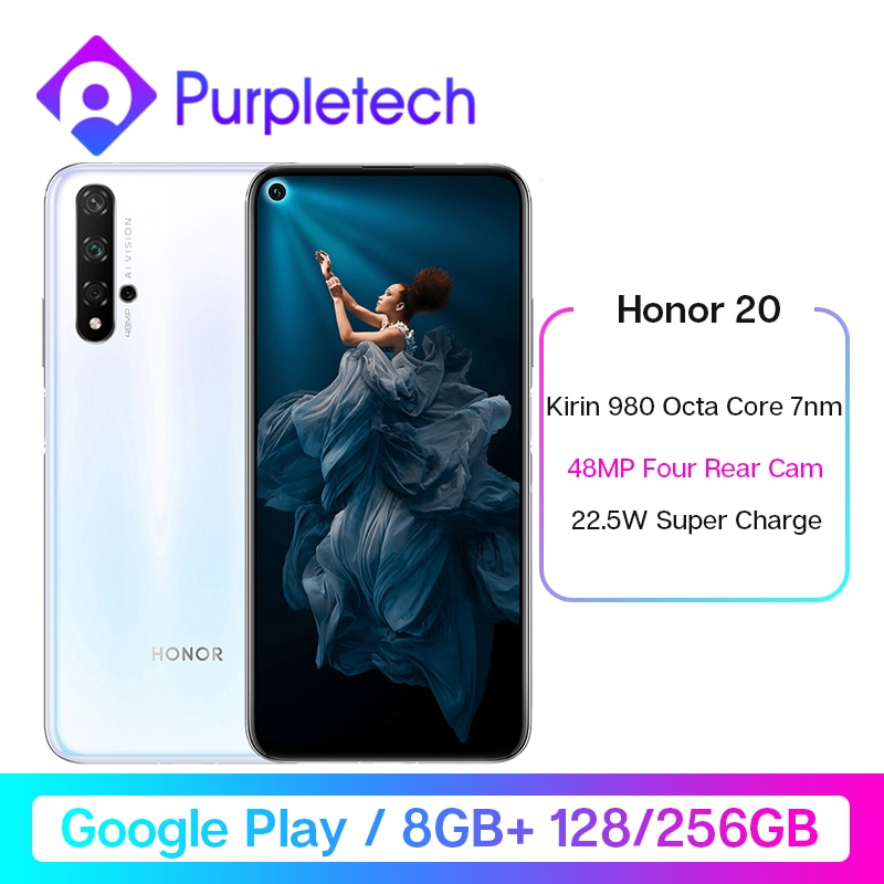 Google Play Honor 20 Smartphone Kirin 980 Octa Core 6.26 inch 8GB RAM 128GB 256GB RAM 48MP Four Cameras 3750mAh Super Charge