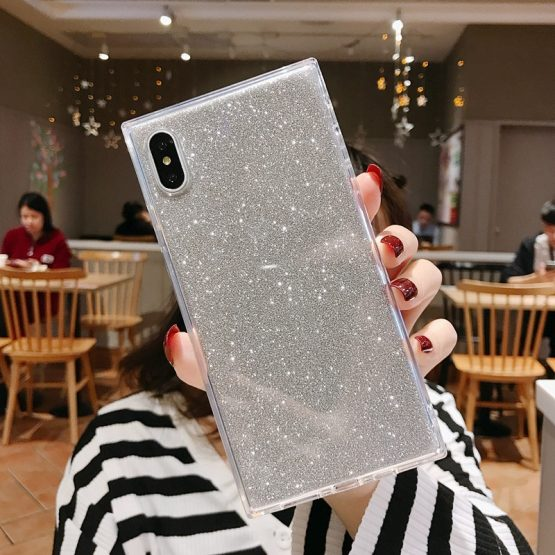 SUYACS Square Glitter Phone Case For iPhone 11 Pro XR XS Max 6 6S 7 8 Plus SUYACS Square Glitter Phone Case For iPhone 11 Pro XR XS Max 6 6S 7 8 Plus X Transparent Soft TPU 2 In 1 Phone Back Cover Case.