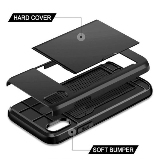 Business Phone Cases For iPhone X XS Max XR Case Slide Armor Wallet Card Business Phone Cases For iPhone X XS Max XR Case Slide Armor Wallet Card Slots Holder Cover for iPhone 7 8 Plus 6 6s 5 5S SE.